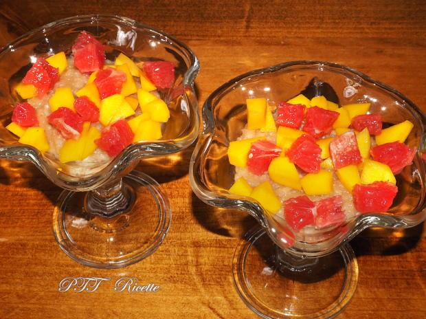 Budino di riso con mango, pompelmo, cioccolato 5