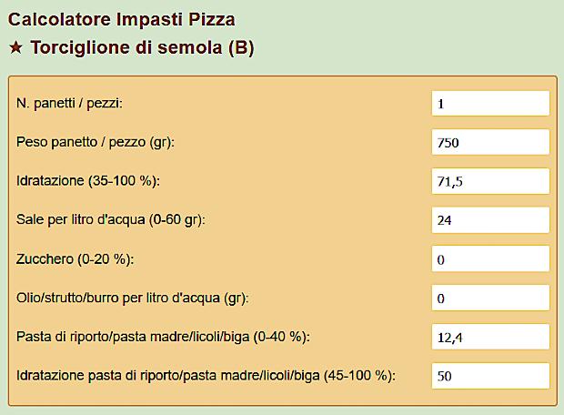 Calcolatore impasti pizza torciglione di semola
