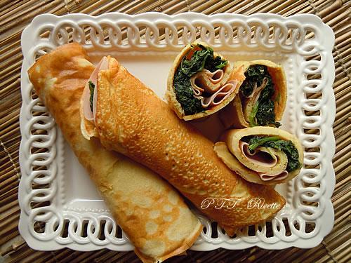 Crepes di farina di ceci, spinaci e mortadella