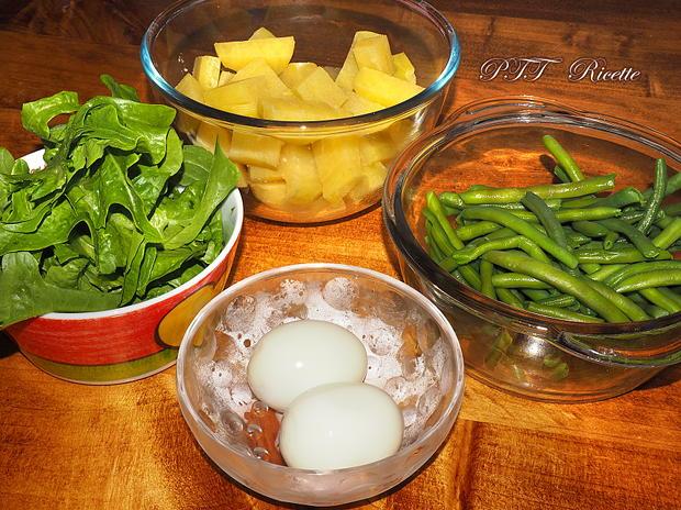 Insalata fredda con patate, uova e fagiolini 1