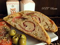 Rotolo salato farcito con salame, provolone e olive (con licoli)