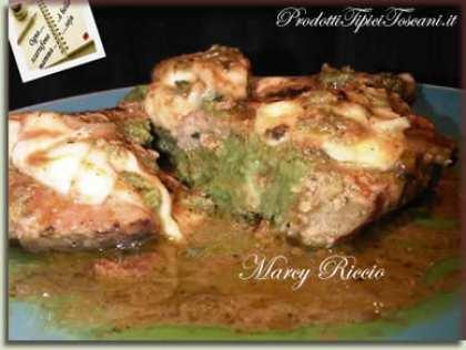 Polpette di pollo ripiene di spinaci con mozzarella