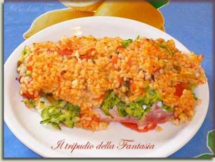 Risotto al forno con zucchine e prosciutto cotto