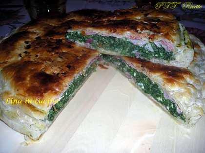Torta rustica con ricotta, prosciutto e spinaci
