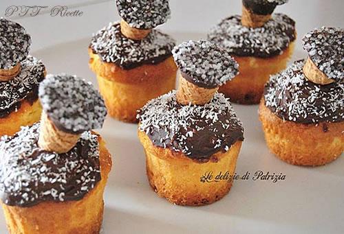 Muffins con gocce di cioccolato e cocco