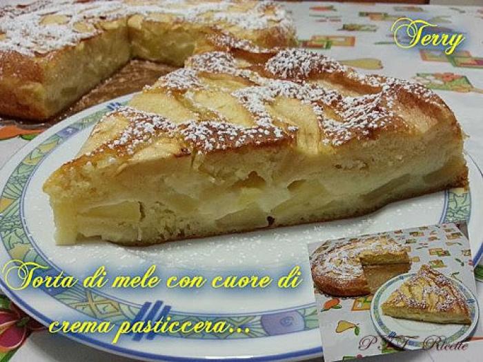 Ricetta Crema Pasticcera E Mele.Torta Di Mele Con Cuore Di Crema Pasticcera Ptt Ricette