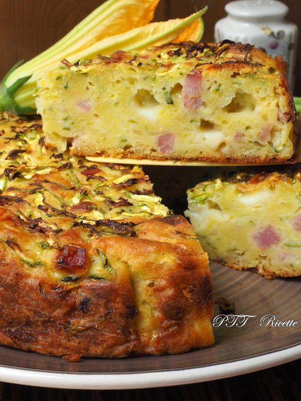 Torta di zucchine con cotto e formaggio 8